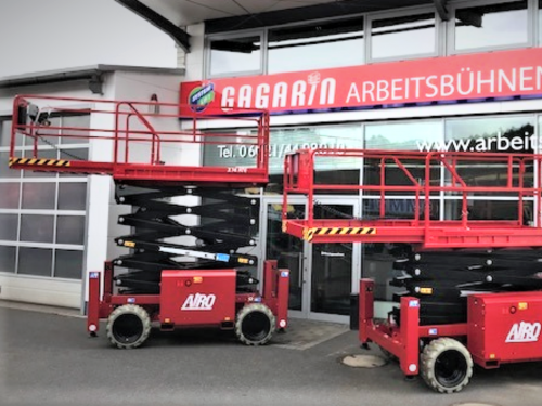 Elektro Scherenarbeitsbühne 14m Arbeitshöhe mit Stützen